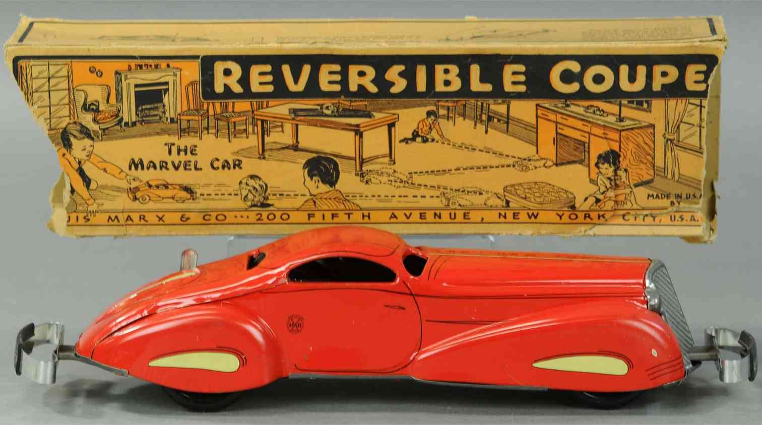 marx louis tin toy car reversible coupe toy auto