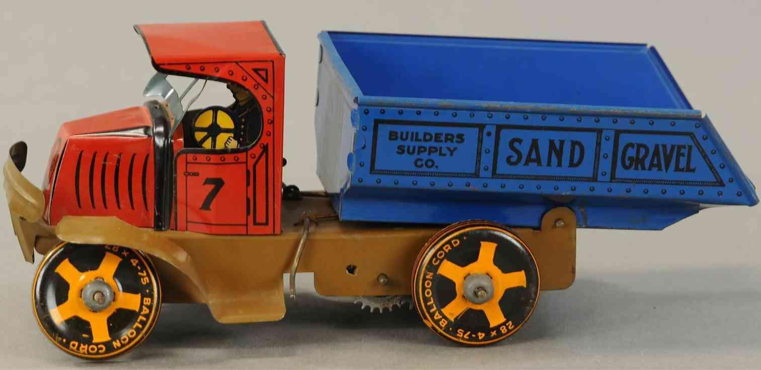 marx louis blech spielzeug lastwagen kipplastwagen uhrwerk rot blau braun