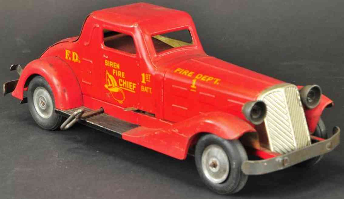 marx toy fire engine siren fire chief's car pressed steel