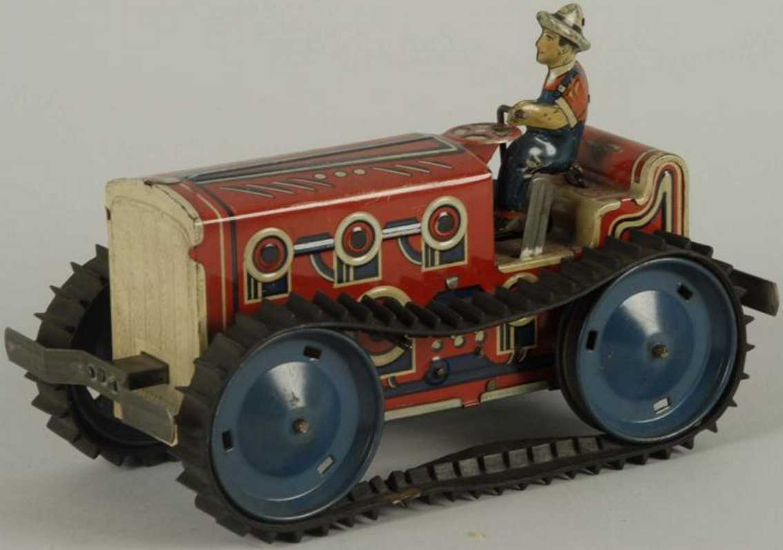 marx louis tin toy self reversing tractor driver clockwork red