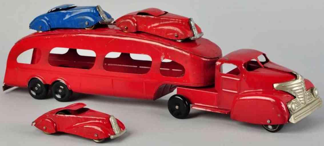 marx louis spielzeug auto transportlastwagen stahlblech rot