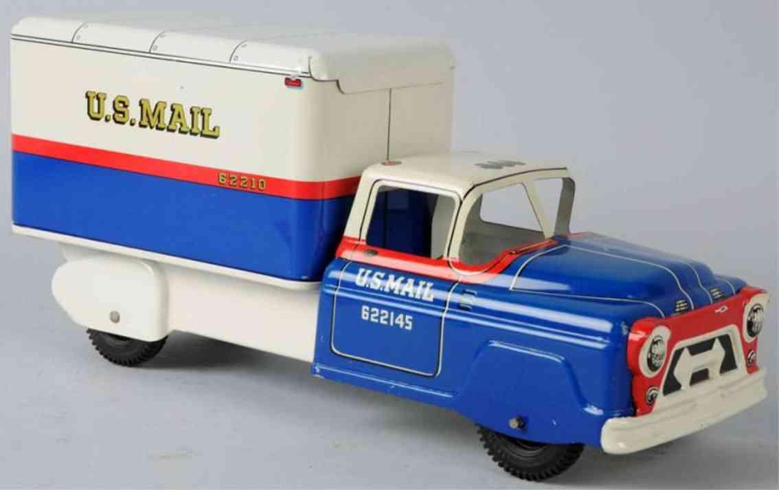 marx louis stahlblech spielzeug lastwagen blau weiß rot