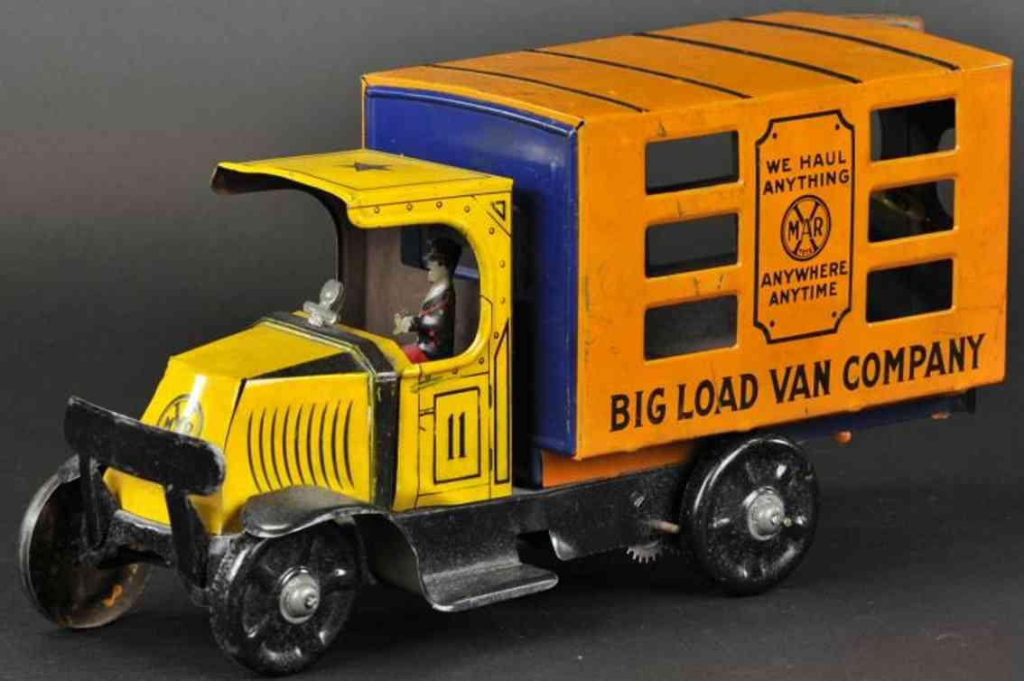 marx louis blech lastwagen lieferwagenbig load van orange