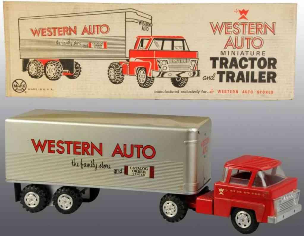 marx louis stahlblech spielzeug western auto lastwagen mit anhaenger