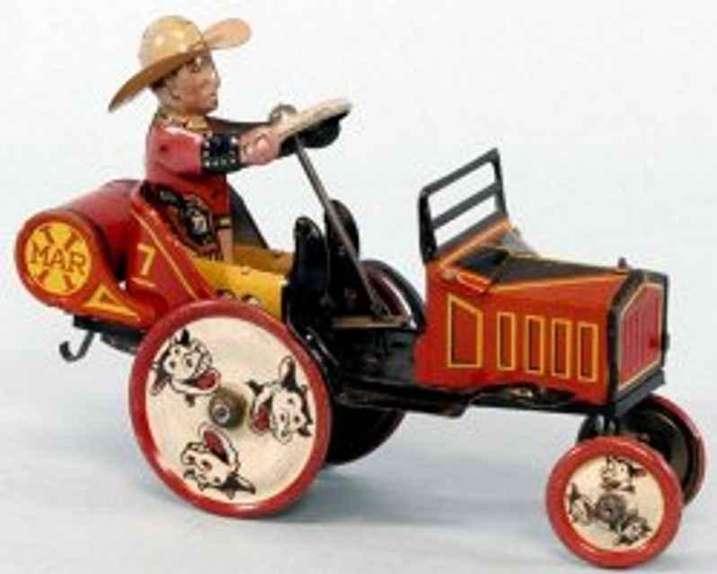 marx louis blech spielzeug auto cowboy uhrwerk
