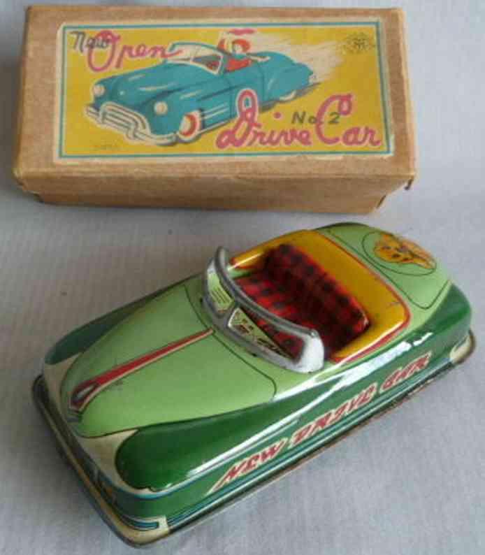 masudaya 2 blech spielzeug auto cabriolet mit uhrwerk