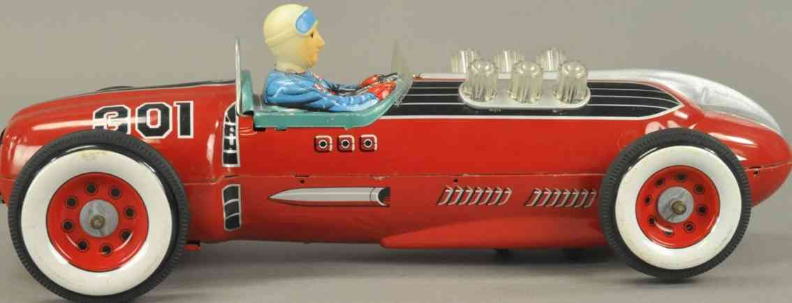 masudaya 301 tin toy race car tm 301 champion racer driver red battery operated