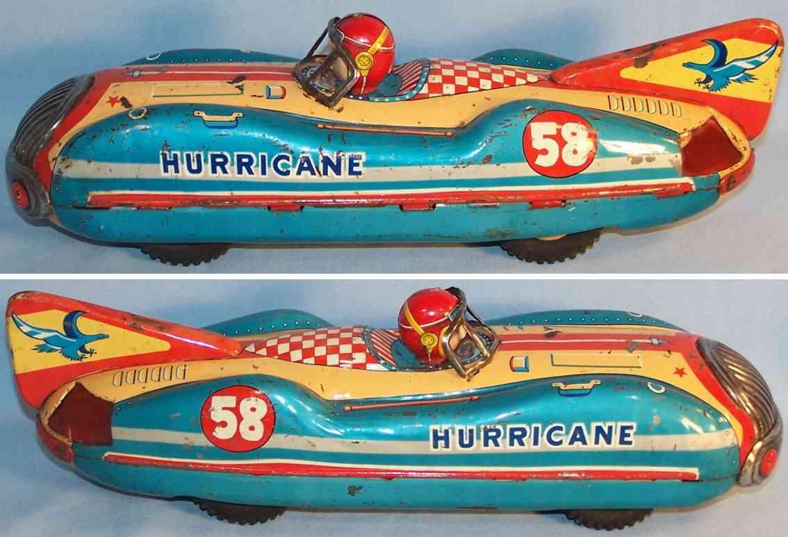 masudaya modern of toys blech spielzeug rennauto hurricane rennwagen celluloid