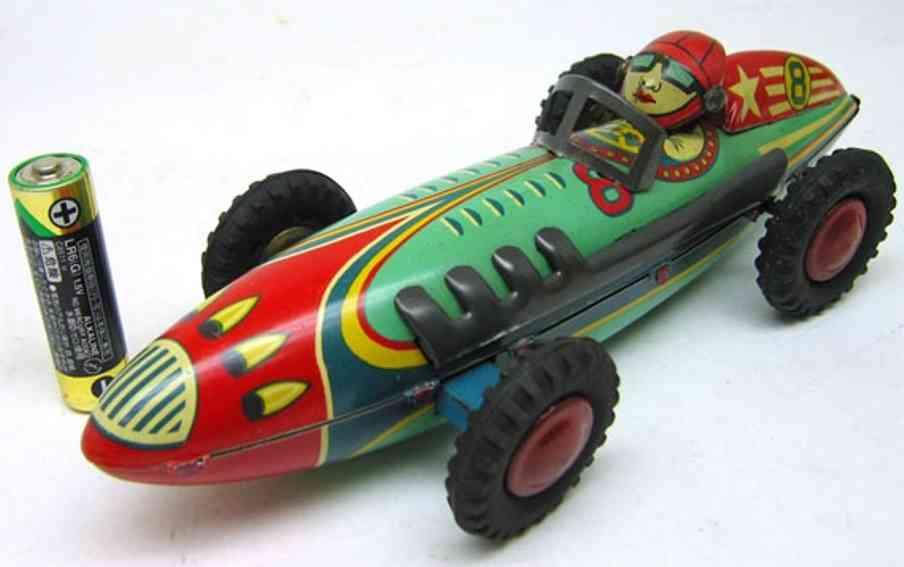 masudaya modern of toys blech spielzeug rennauto  rennwagen friktionsantrieb