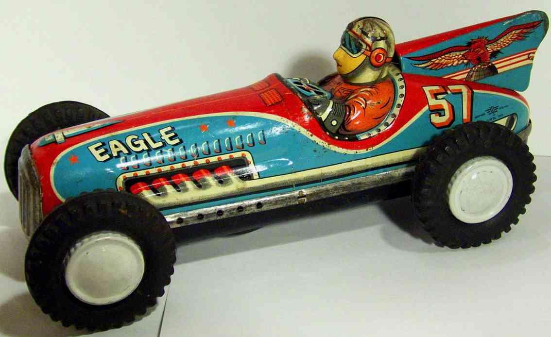 masudaya blech spielzeug rennauto eagle rennwagenlithografiert mit friktionsantrieb, man kann