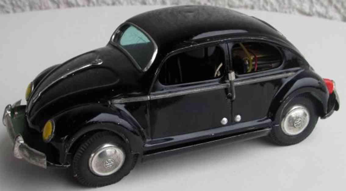 masudaya modern toys 1607 blech spielzeug auto vw kaefer schwarz baterrie