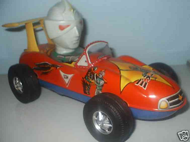 masudaya tin toy car mirrorman character car, friction powered