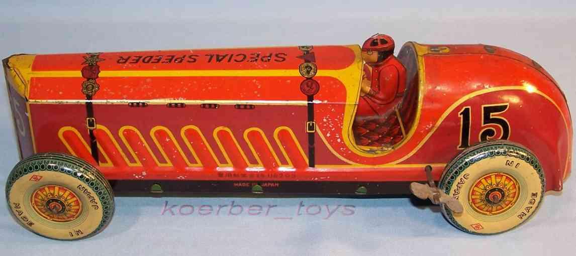 masudaya modern toys 15 blech spielzeug rennauto rennwagen uhrwerk fahrer rot