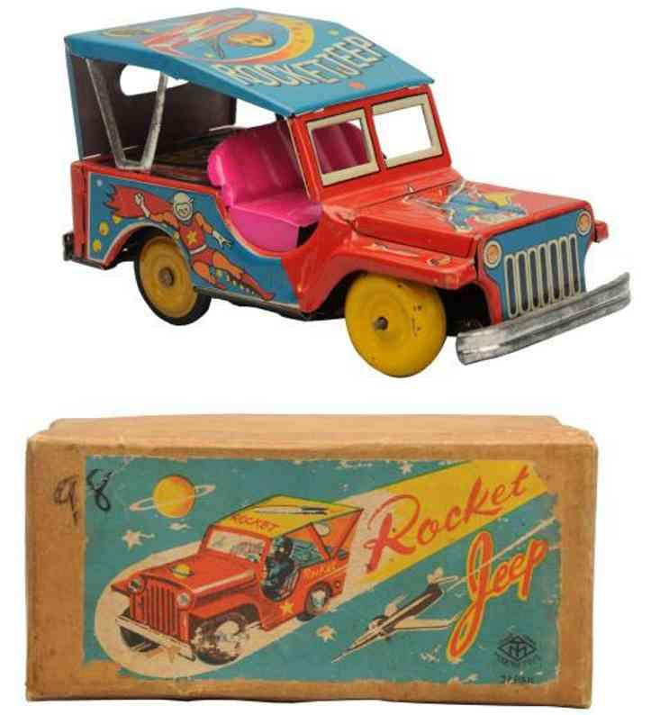 masudaya blech spielzeug jeep rocket jeep
