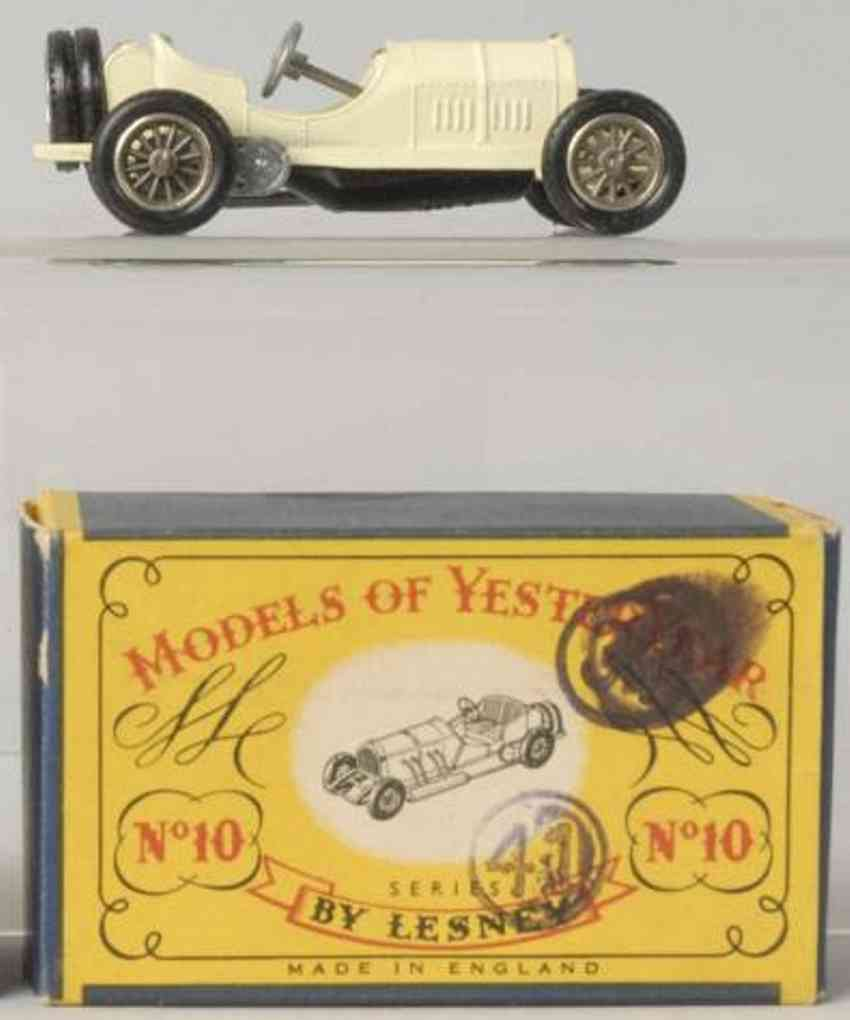 matchbox druckguss 10 1908 mercedes rennwagen weiss