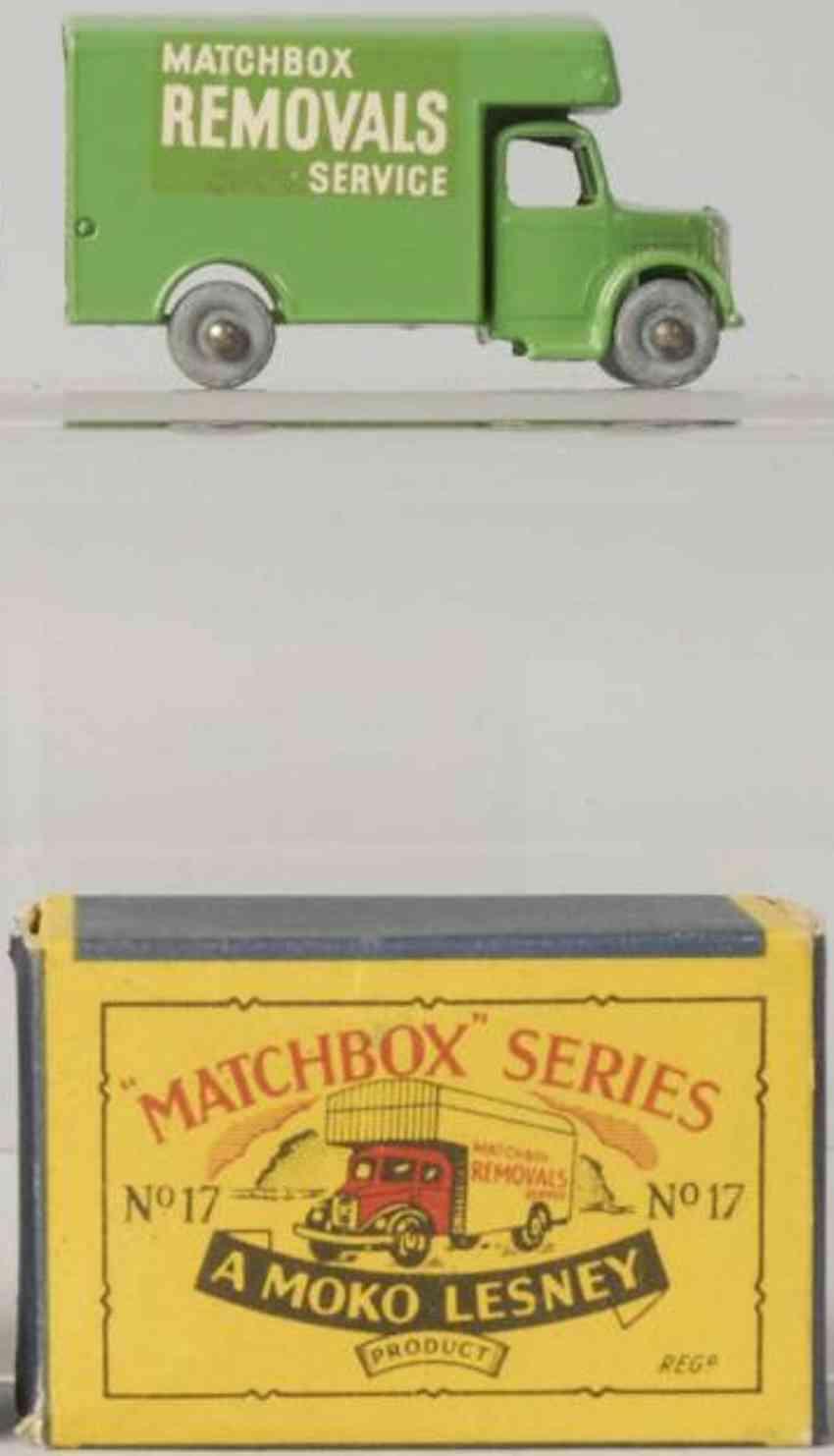 matchbox 17 druckguss lieferwagen gruen removals