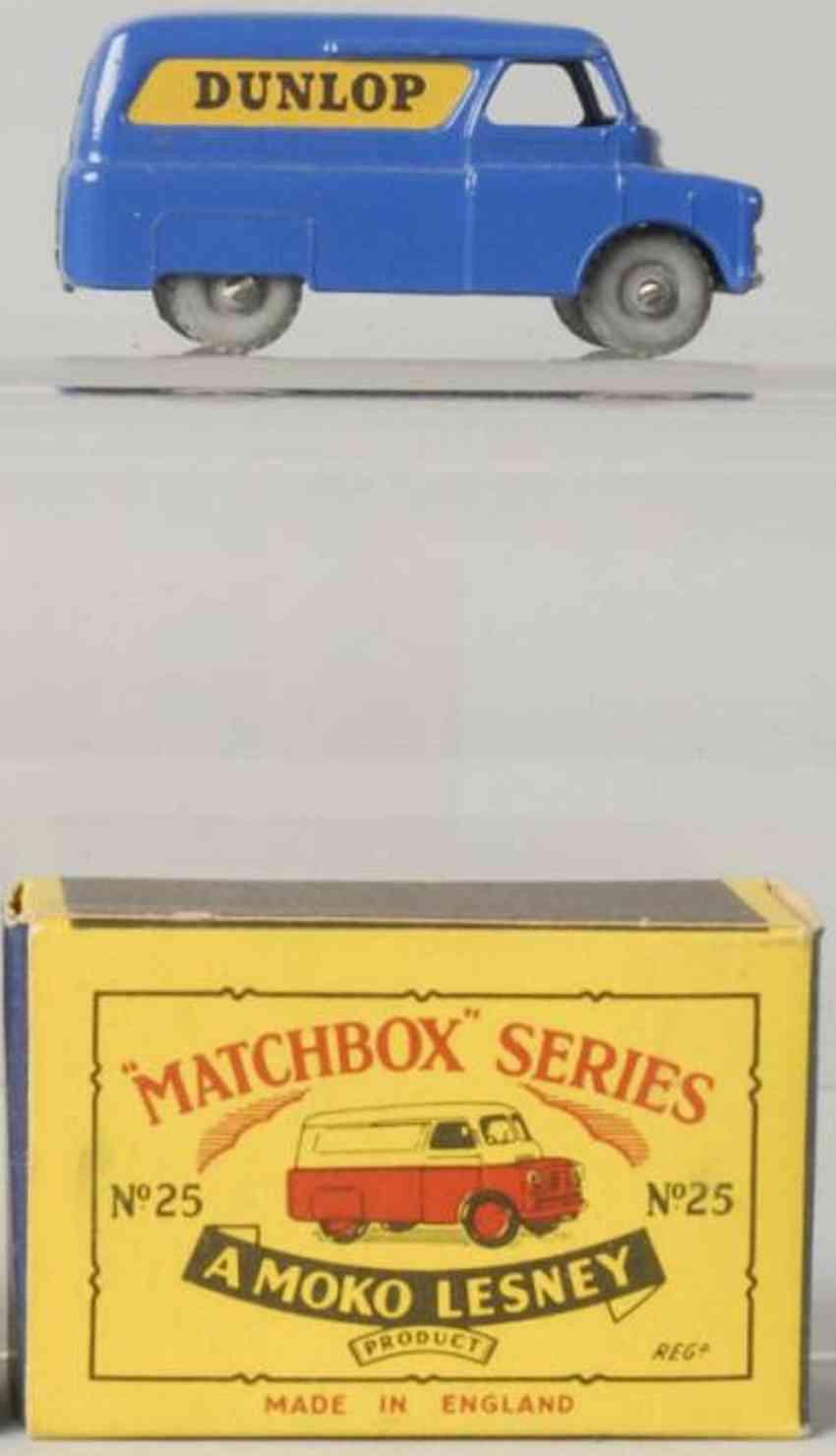matchbox 25 druckguss lieferwagen blau dunlop