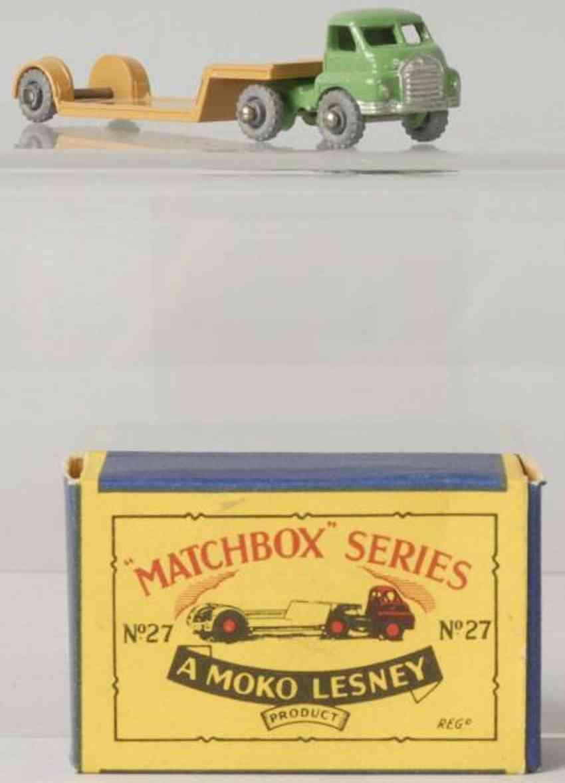 matchbox 27 druckguss lastwagen mit tieflader