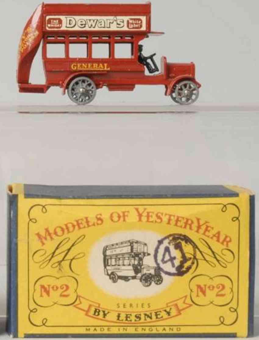 matchbox 2 druckguss doppeldeckerbus rot models of yesteryear