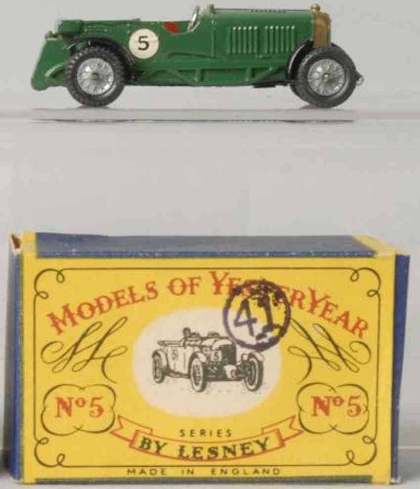 matchbox 5 druckguss 1929 le mans bentley gruen