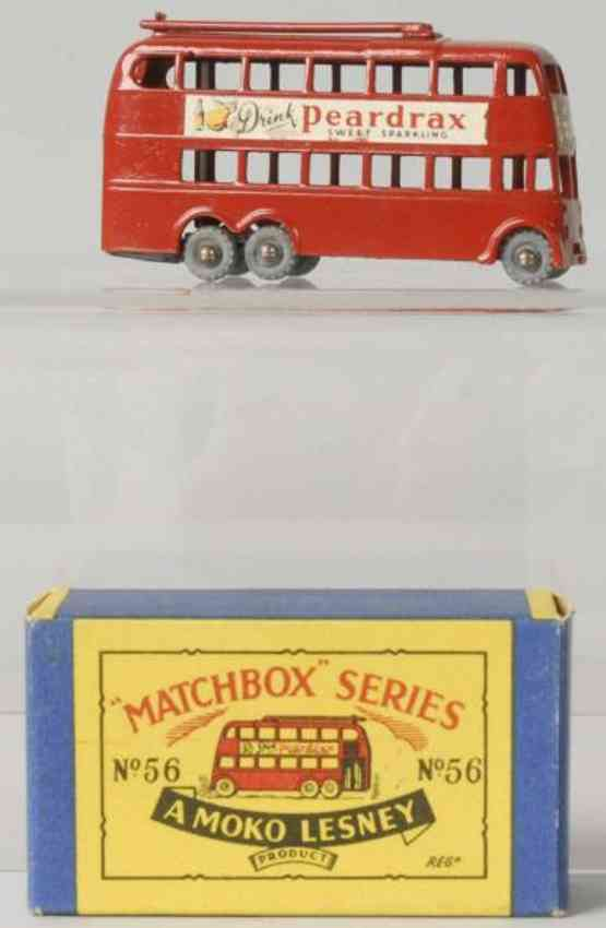 matchbox 56 diecast london trolleybus toy peardrax