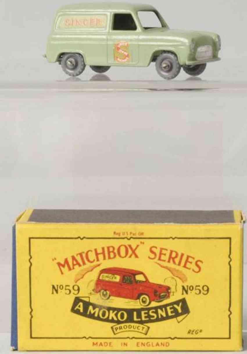matchbox 59 druckguss ford singer lieferwagen  gruen