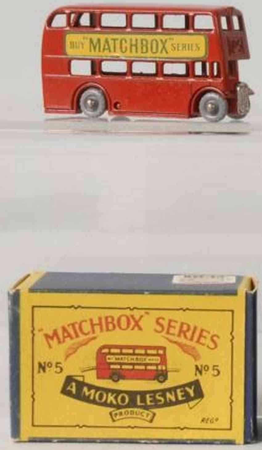matchbox 5 druckguss doppeldeckerbus rot