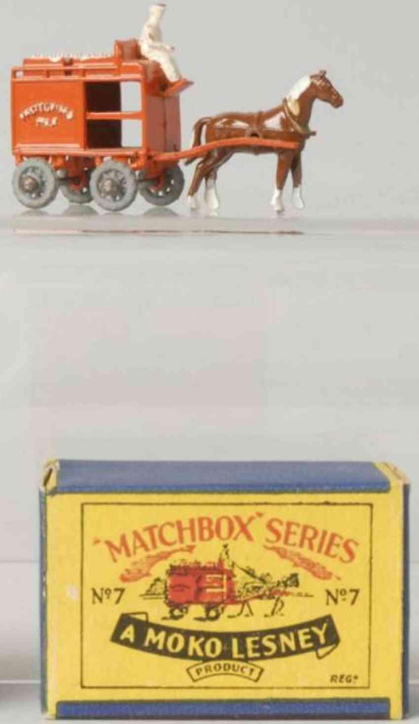matchbox 7 druckguss milchwagen rot fahrer pferd