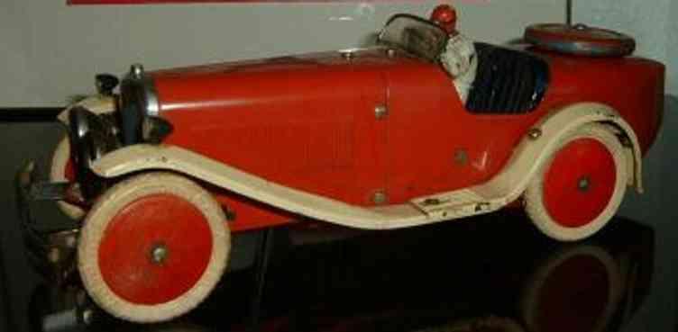 meccano erector 2 blech spielzeug rennauto rennwagen rot weiss uhrwerk fahrer