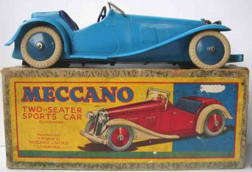 meccano erector tin toy car two seater sprots car, no constructor car,with clockwork, bl