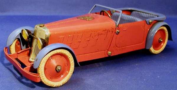 Meccano Erector Fertigmodell Sportzweisitzer Cabriolet aus Blech