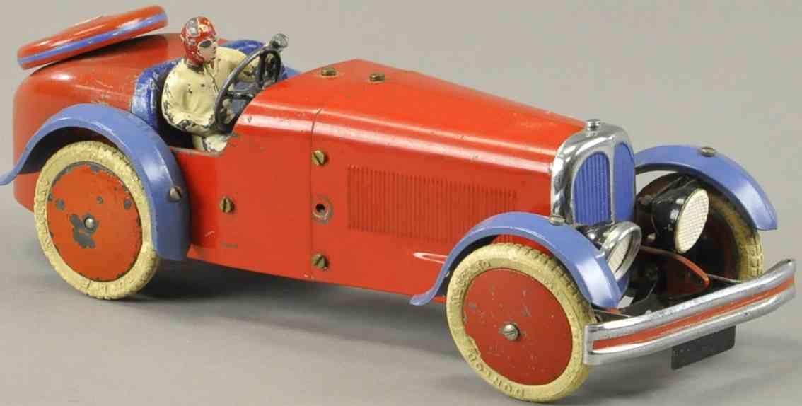 meccano erector blech spielzeug rennwagen rot blau fahrer