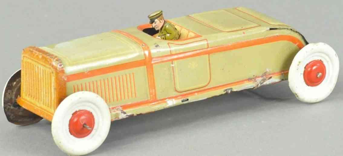 meier tin toy car open auto tan orange