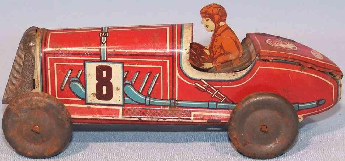 memo gutmann 708 blech spielzeug rennauto rennwagen uhrwerk rot