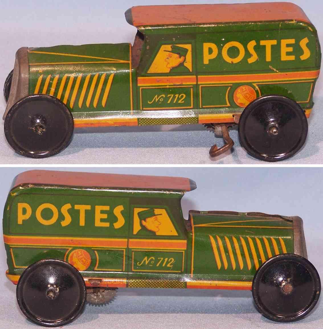 memo 712 tin toy truck clockwork green orange