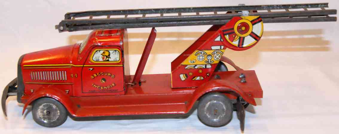 memo gutmann tin toy fire-brigade carriage with extendible double-ladder