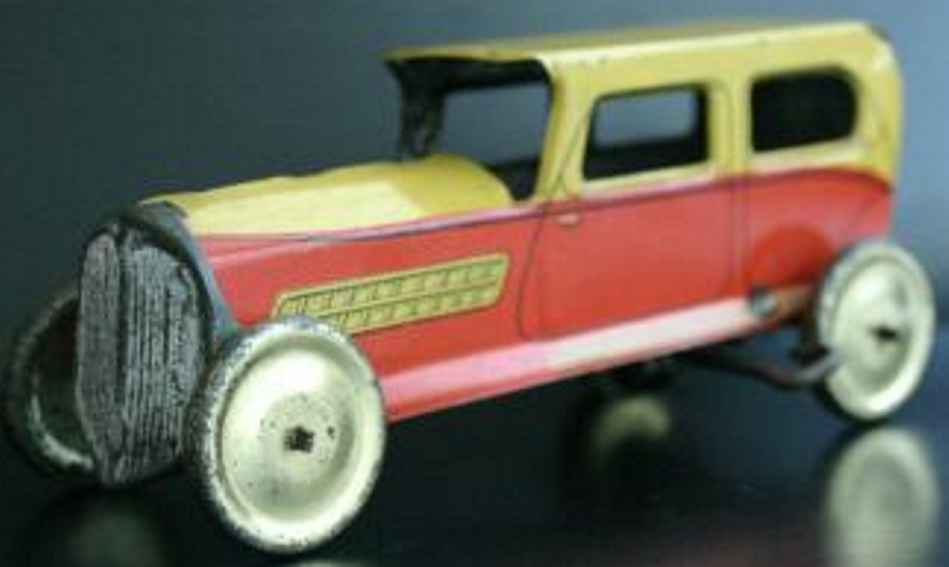 memo toy car tinplate wind up limousine yellow-orange