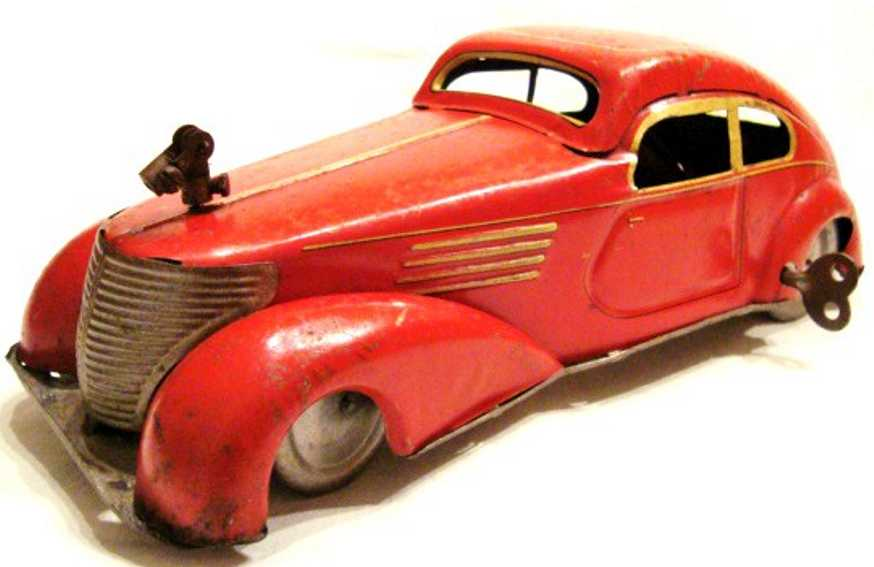 memo tin toy car clockwork  red