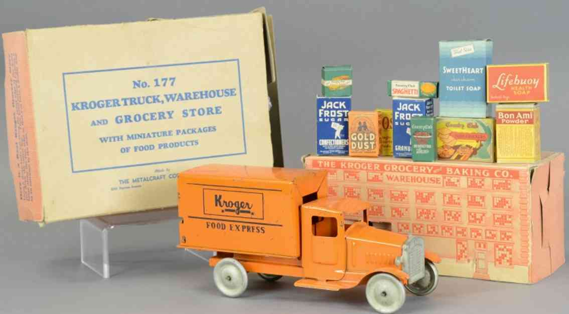 metalcraft corp st louis 177 stahlblech spielzeug lieferwagen kroger express orange warenhaus