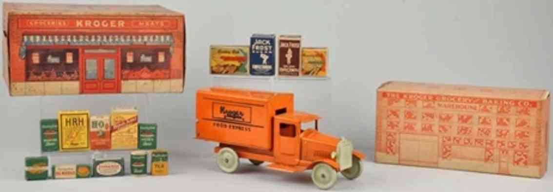 metalcraft corp st louis 177 pressed steel toy kroger express truck orange warehouse box