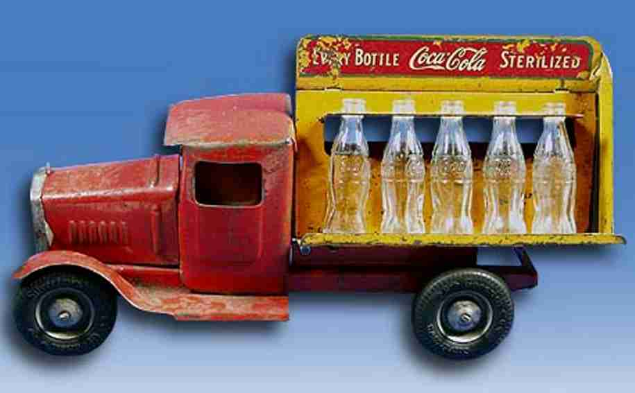 metalcraft corp st louispressed steel toy coca cola truck red