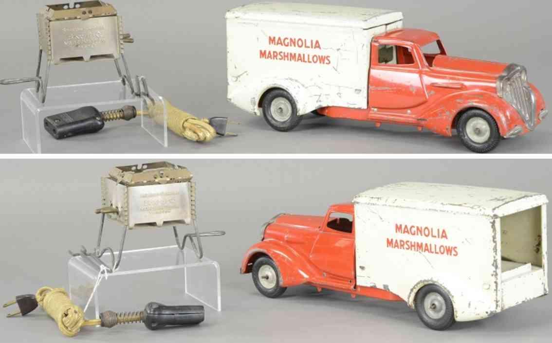 metalcraft corp st louis blech spielzeug lieferwagen rot weiss magnolia marshmallows