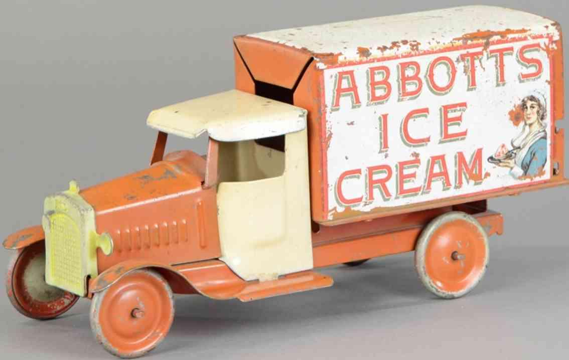 metalcraft corp st louis spielzeug lieferwagen stahlblech orange creme