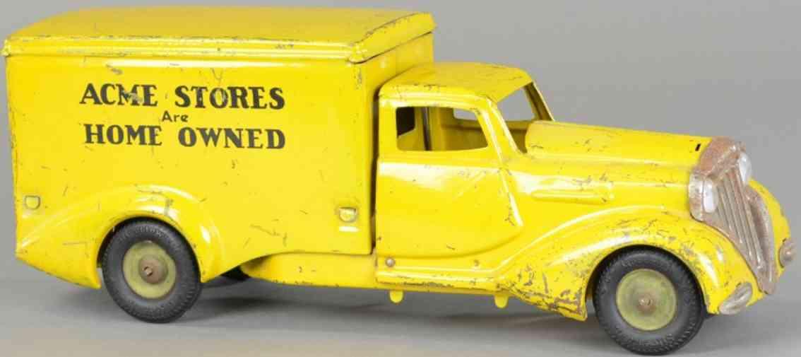metalcraft corp st louis blech spielzeug lieferwagen gelb acme stores