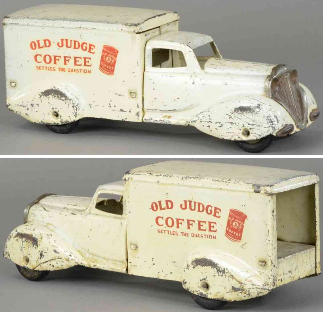 metalcraft corp st louis pressed steel toy old judge coffee truck white