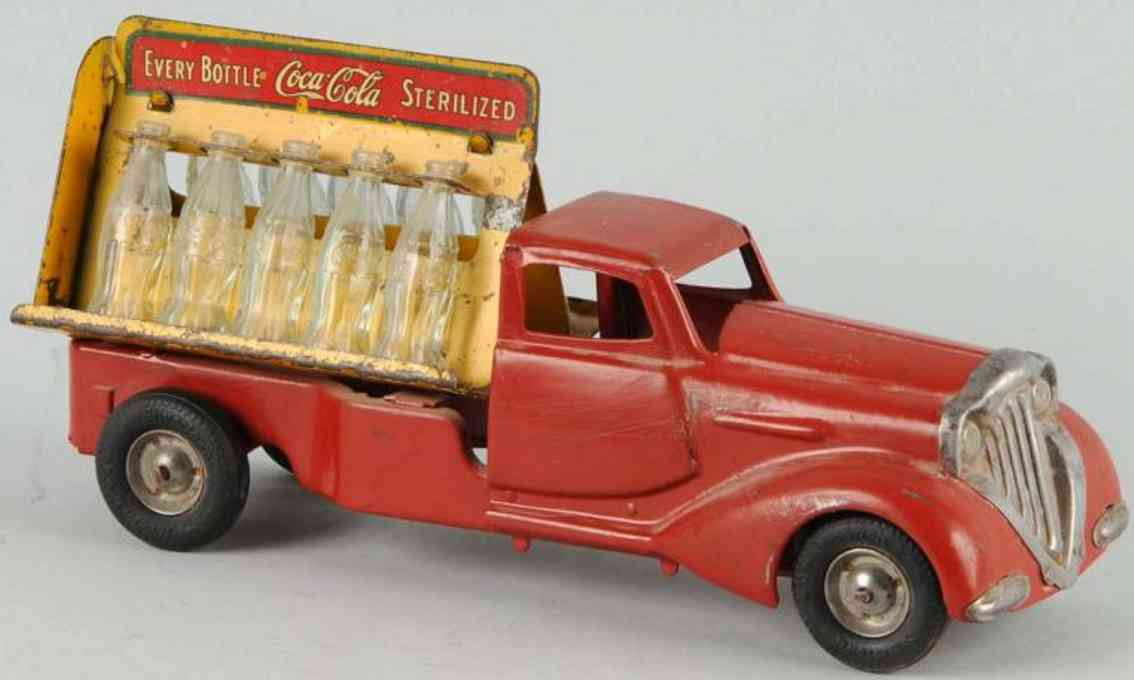 metalcraft corp st louis tin toy coca-cola truck red