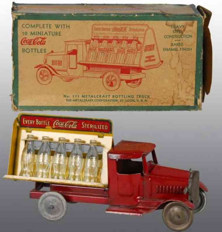 metalcraft corp st louis tin toy coca cola truck red yellow
