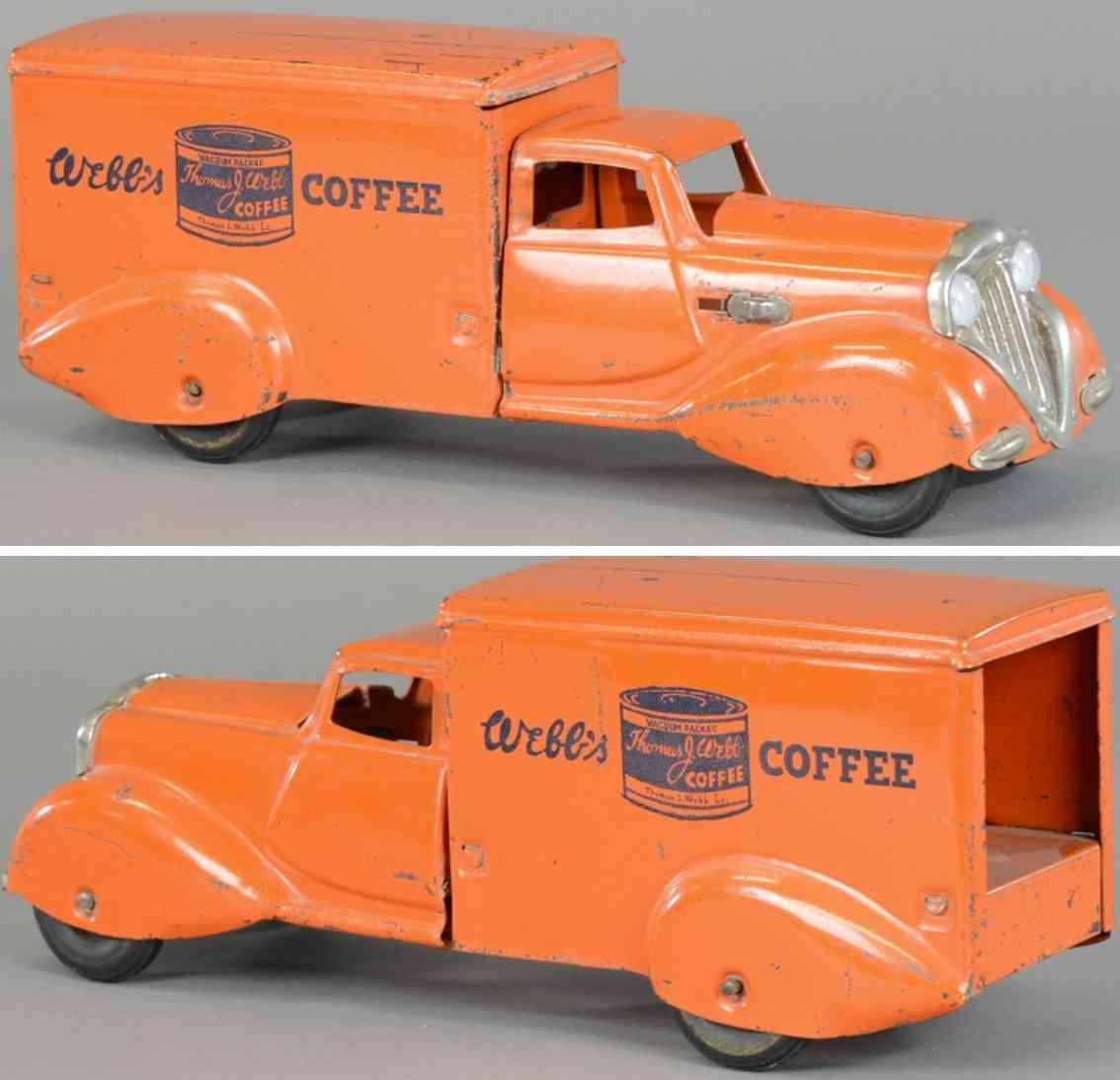 metalcraft corp st louis stahlblech spielzeug lieferwagen orange webbs coffee