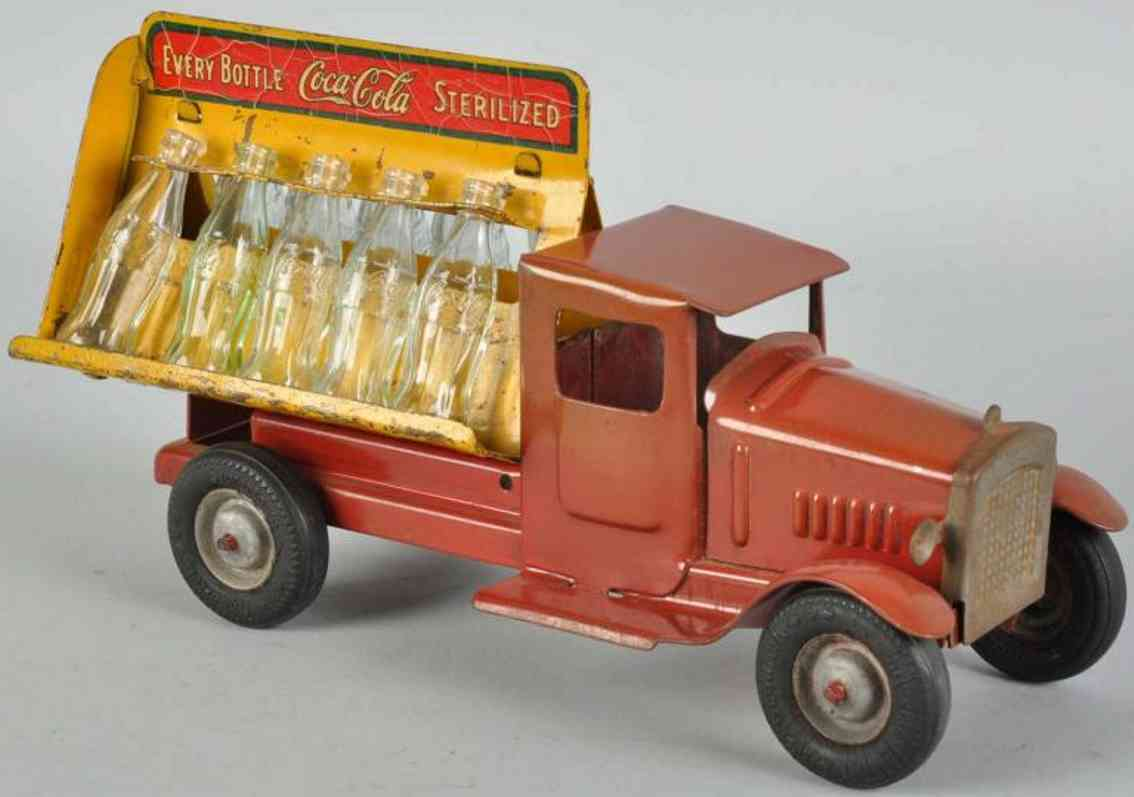 metalcraft corp st louistin toy coca cola truck red
