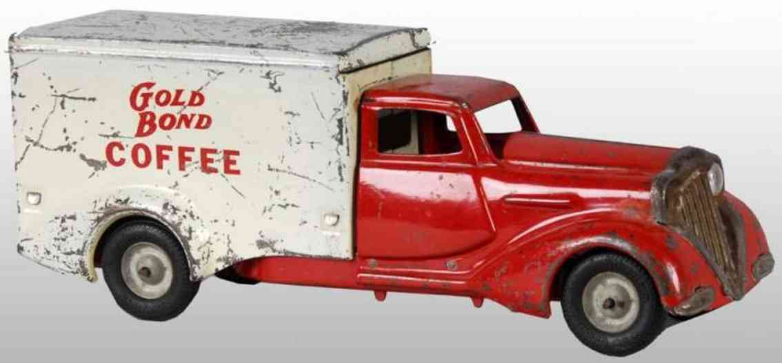 metalcraft corp st louis pressed steel toy gold bond coffee truck red white